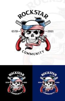 Caveira de luxo e vintage com bandeira americana e logotipo de armas