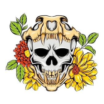 Caveira de monstro com a caveira da morte e flores brilhantes
