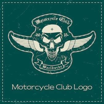 Caveira de motocicleta clube design de logotipo