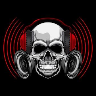 Caveira de música com fone de ouvido
