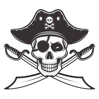 Caveira de pirata com chapéu e tapa-olho com ilustração de dois sabres cruzados