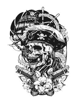 Caveira de pirata com tatuagem de vetor de navio à mão de desenho.
