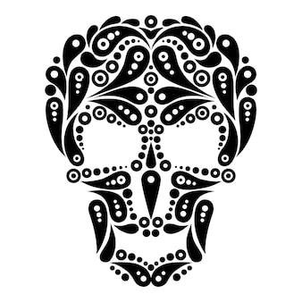 Caveira de tatuagem ornamentada