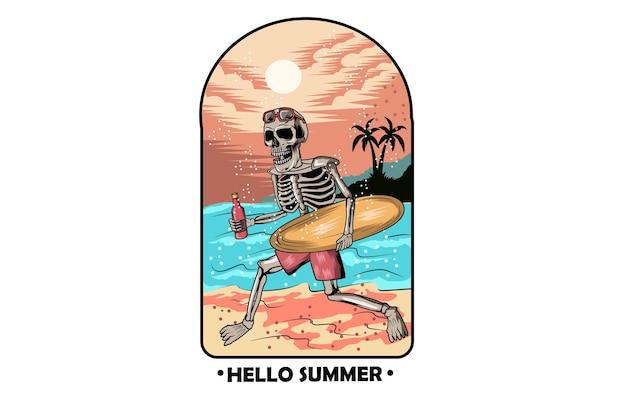 Caveira de verão traz prancha de surf