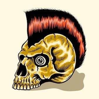 Caveira desenhada à mão estrela do rock and roll punk