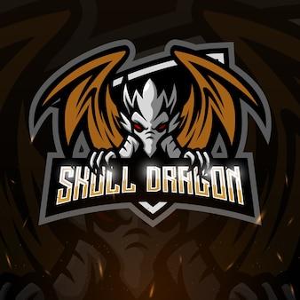 Caveira dragão mascote esport ilustração