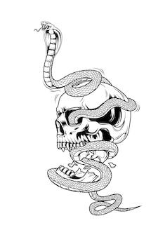 Caveira e cobra desenho a mão desenho ilustração