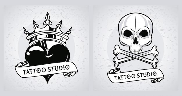 Caveira e coração com gráficos de tatuagens na coroa