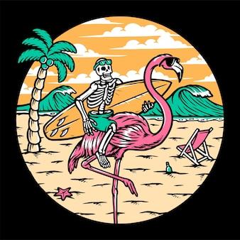 Caveira e flamingo na praia