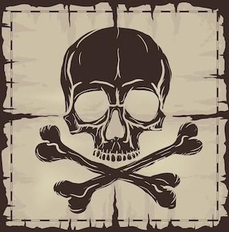Caveira e ossos cruzados sobre velho mapa danificado