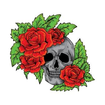 Caveira e rosas