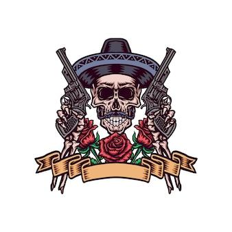 Caveira mexicana com armas, mão desenhada linha com cor digital