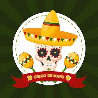 Caveira mexicana com chapéu mexicano, ilustração de cinco de maio, méxico
