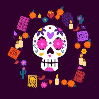 Caveira mexicana com elementos decorativos e luzes