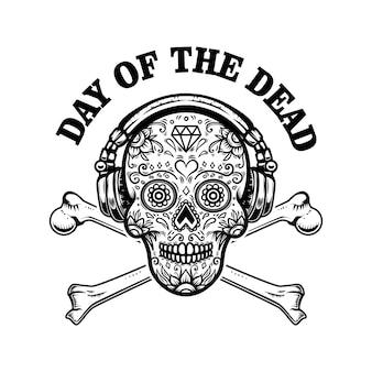 Caveira mexicana de açúcar com fones de ouvido e ossos cruzados. dia dos mortos.