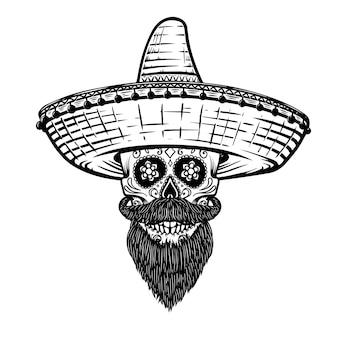 Caveira mexicana de açúcar em sombrero. tema do dia dos mortos. elemento de design para cartaz, camiseta, emblema, sinal. ilustração vetorial