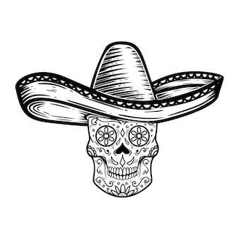 Caveira mexicana de açúcar em sombrero. tema do dia dos mortos. elemento de design para cartaz, camiseta, emblema, sinal.