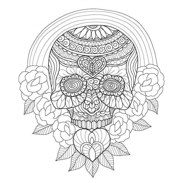 Caveira mexicana de mão desenhada e rosas