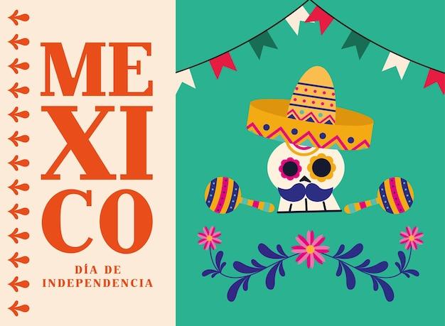 Caveira mexicana dia de la independencia com chapéu e desenho de maracas, ilustração vetorial tema cultural