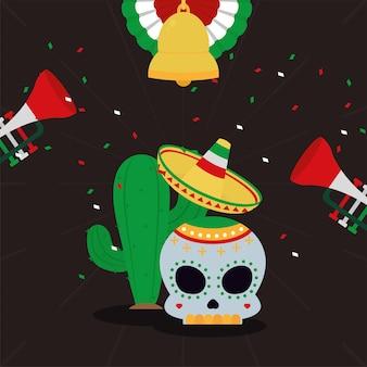 Caveira mexicana e cacto