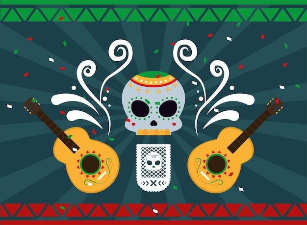 Caveira mexicana e guitarras