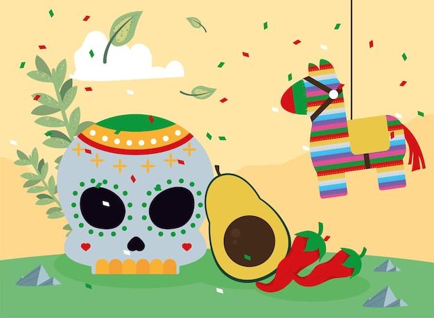 Caveira mexicana e pinata