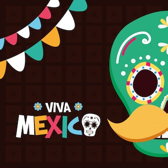 Caveira mexicana para o viva mexico