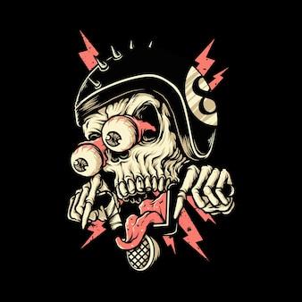 Caveira motociclista cavaleiro horror ilustração gráfica arte tshirt design