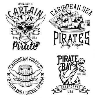 Caveira pirata, barril de rum, veleiro e âncora