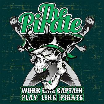 Caveira pirata com espada cruzada