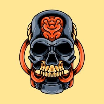 Caveira robô cabeça mascote