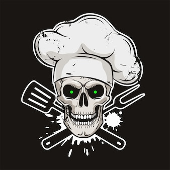 Caveira sorridente com chapéu de chef e ferramentas de churrasco cruzadas
