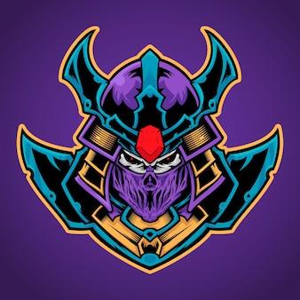 Caveira usando máscara de samurai, ilustração do logotipo da esport