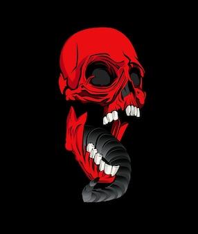Caveira vermelha gritando com a boca aberta