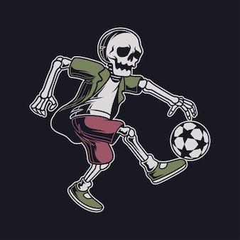 Caveira vintage chuta a bola em uma posição de salto ilustração de futebol