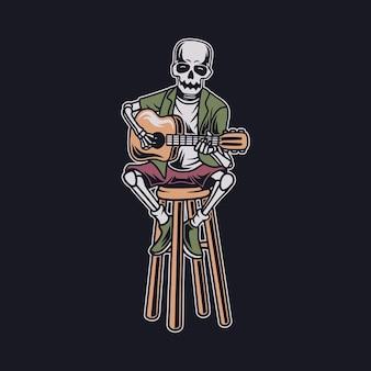 Caveira vintage tocando música de guitarra