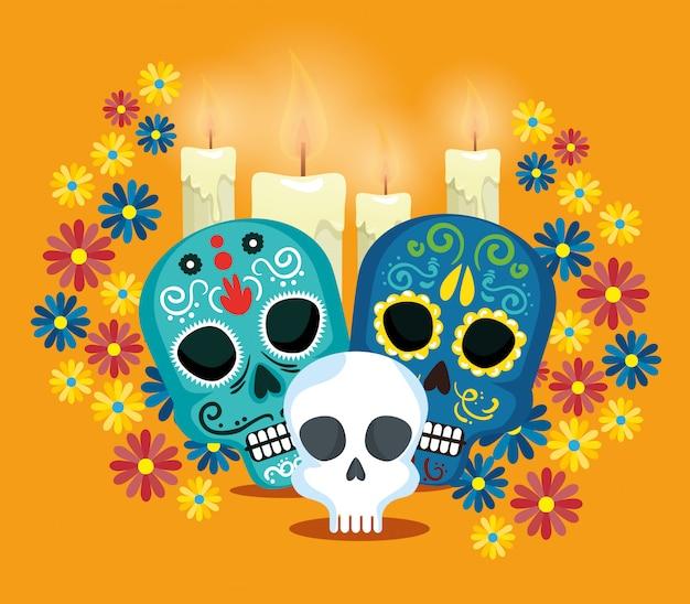 Caveiras com flores para comemorar o dia dos mortos