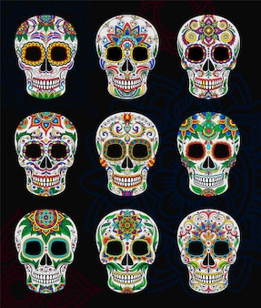 Caveiras de açúcar mexicano com conjunto padrão floral, dia dos mortos ilustração