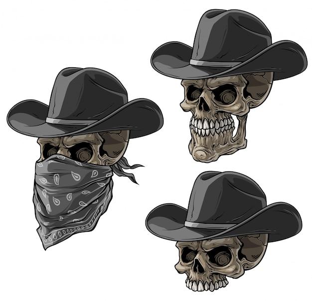 Caveiras de bandido de desenhos animados com chapéu e cachecol