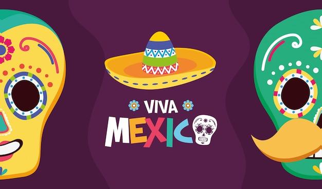 Caveiras e chapéu mexicanos para o viva mexico