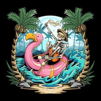 Caveiras em flamingos flutuam na praia durante festas de verão repletas de coqueiros