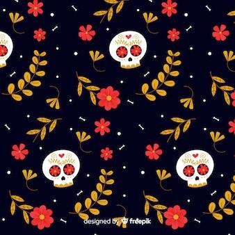 Caveiras floridas dia de muertos padrão
