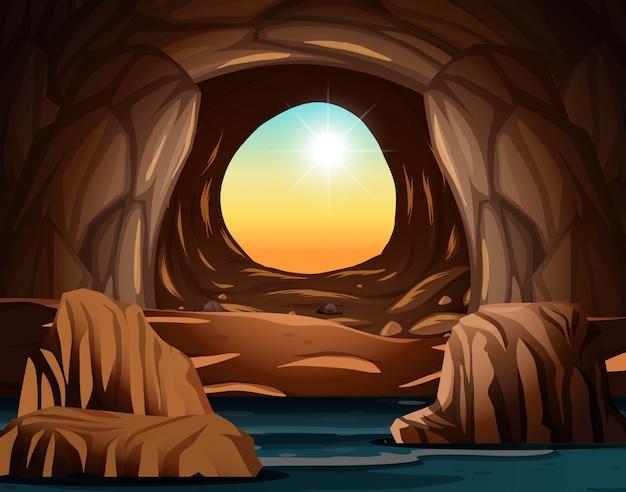 Caverna com abertura da luz solar