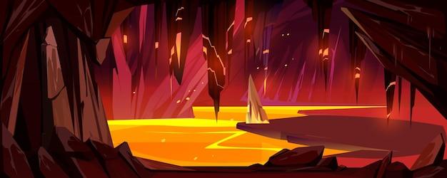 Caverna com lava subterrânea jogo de paisagem do inferno
