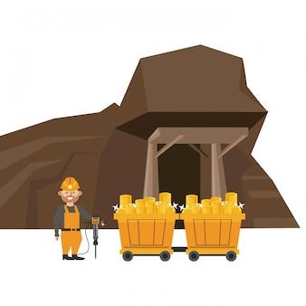 Caverna de mineração e trabalhador com carrinhos de carroça