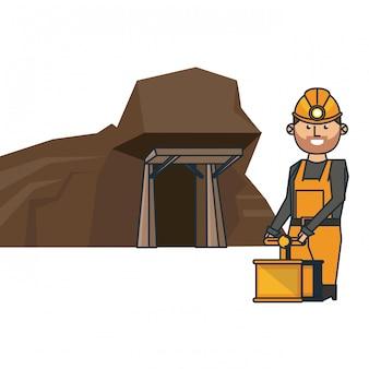 Caverna de mineração e trabalhador com detonador