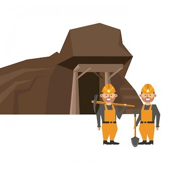 Caverna de mineração e trabalhadores com ferramentas