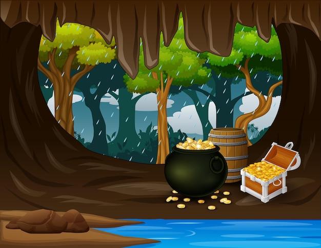 Caverna do tesouro com moedas de ouro no baú e barril de madeira