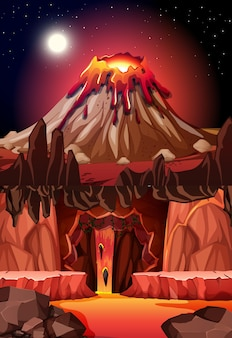 Caverna escura infernal com cena de lava