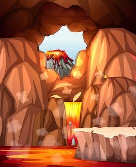 Caverna infernal com cena de lava
